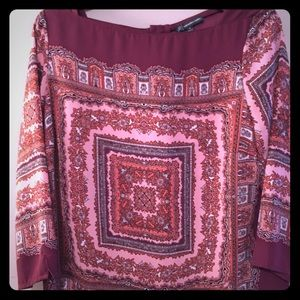 Adrienne Pappel lovely paisley top in pink shades